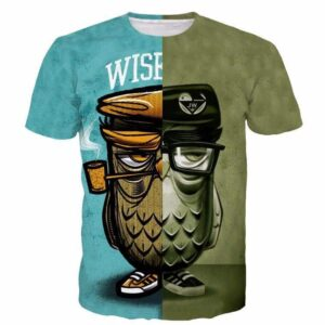 Wise Cool Smoking Owl Tatoo Mossy Green Half Print 3D T-shirt - Woof Apparel