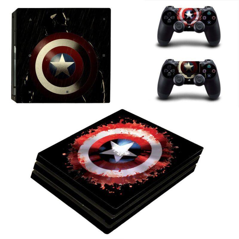 Marvel Captain America Shield Painting Black PS4 Pro Skin