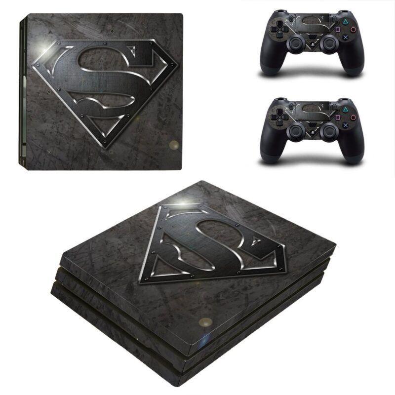 Man of Steel Hero Symbol Black Theme PS4 Pro Skin