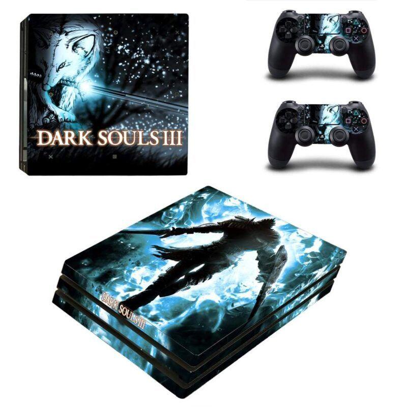 Dark Souls III Silhouette Blue Neon Vibrant PS4 Pro Skin