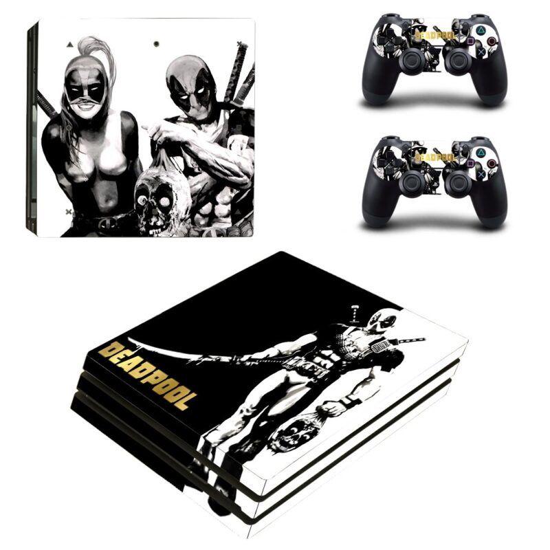 Killer Deadpool & Lady Deadpool Black & White PS4 Pro Skin