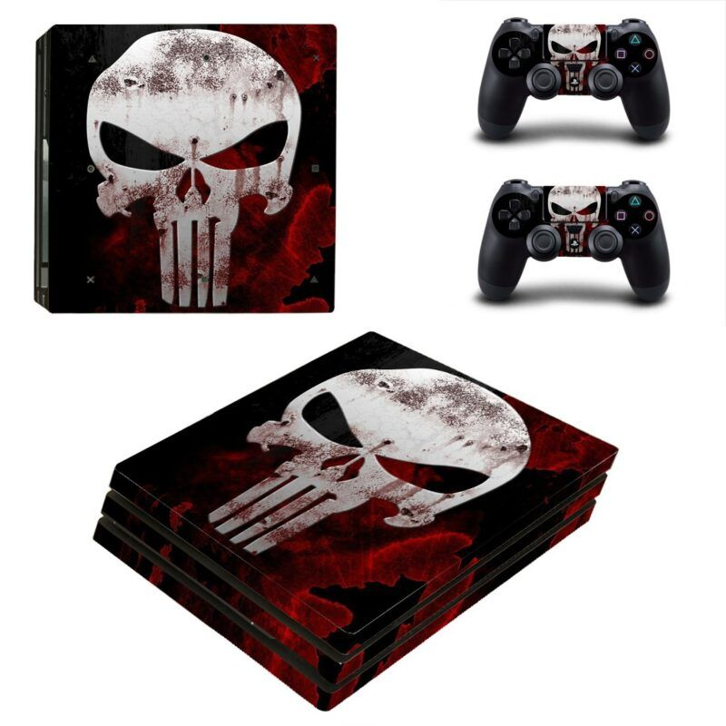 Marvel The Punisher Cool Skull Logo Red PS4 Pro Console Skin
