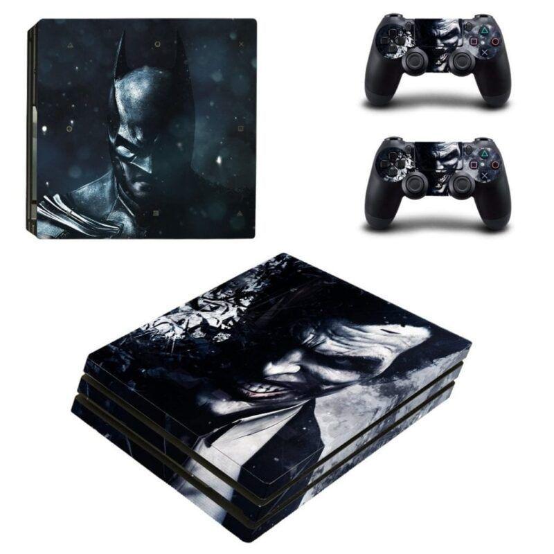 DC Batman And Fading Joker Face Portrait Black PS4 Pro Skin