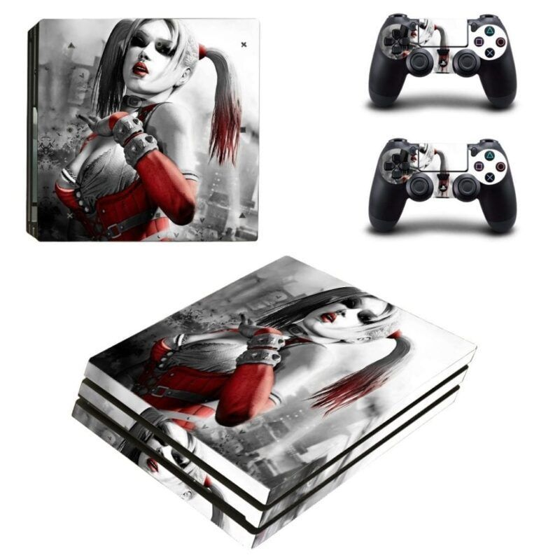 DC Harley Quinn In A Red Dress Gray Monochrome PS4 Pro Skin