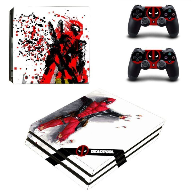 Marvel The Immortal Deadpool Abstract Painting PS4 Pro Skin