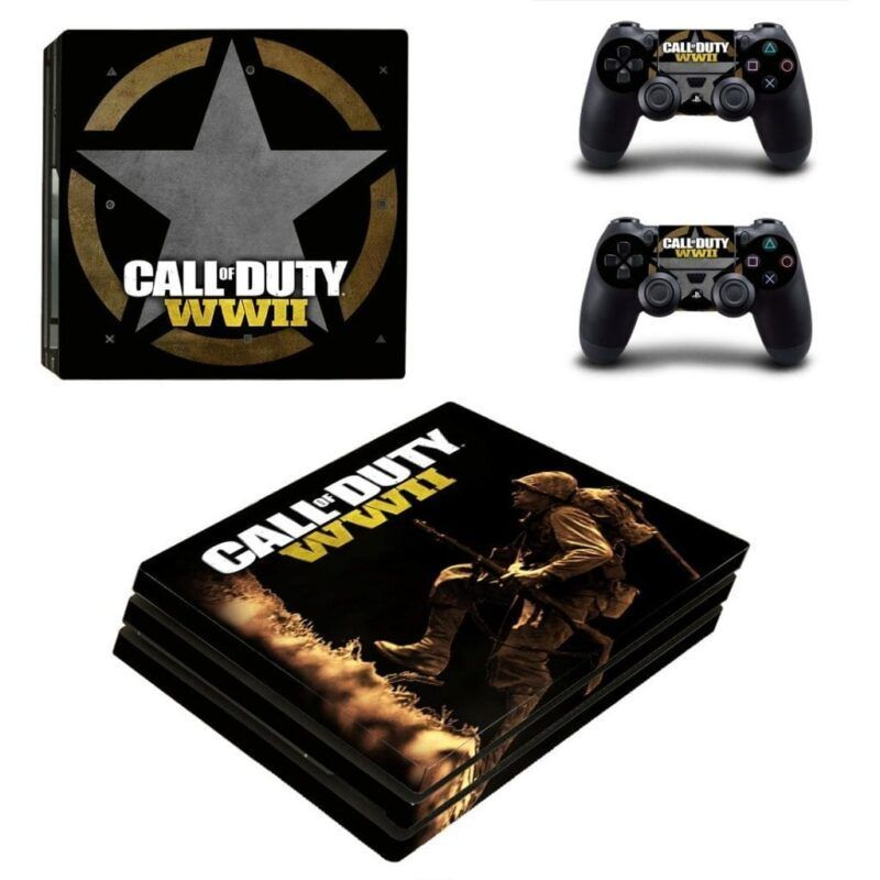 Call Of Duty WWII Freedom Star Symbol Black PS4 Pro Skin