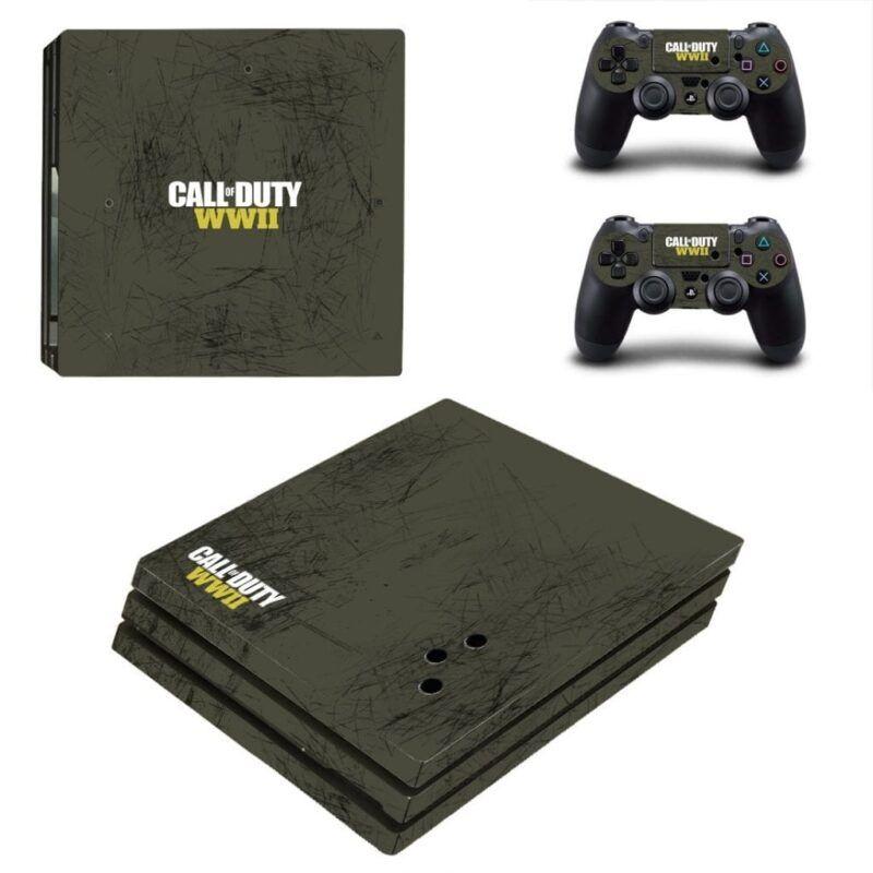 Call Of Duty World War II Scratched Scrape Gray PS4 Pro Skin