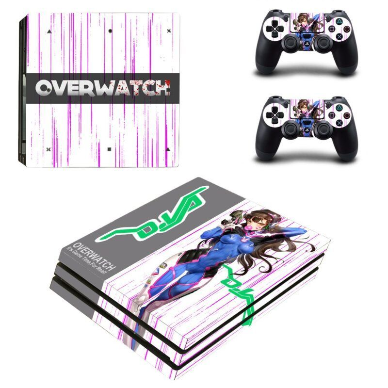 Overwatch Sexy Hana Song D.Va Pink Stripes PS4 Pro Skin