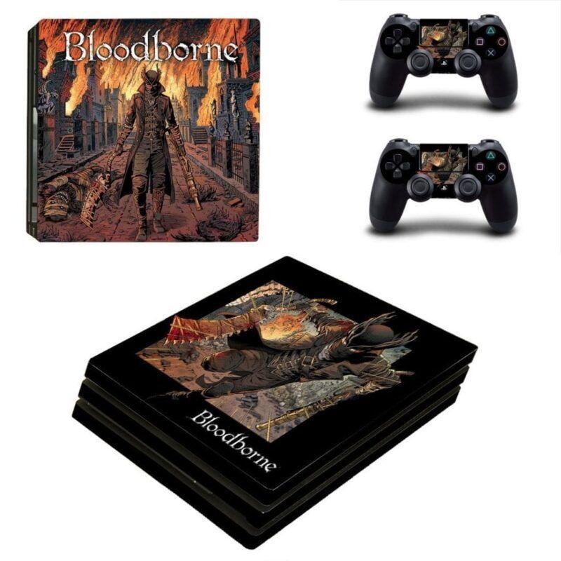 Bloodborne The Hunter Animated Cartoon Black PS4 Pro Skin