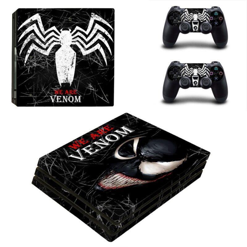 Marvel Venom Symbol Black Theme Cool PS4 Pro Skin