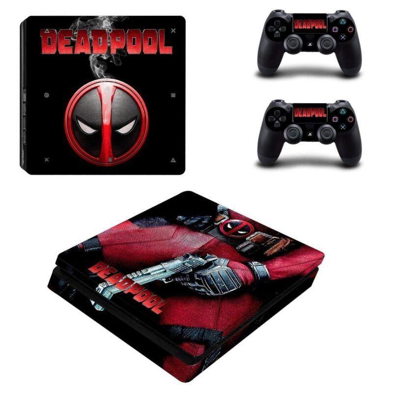Deadpool Anti Hero Sexy Guns & Logo Design PS4 Slim Skin