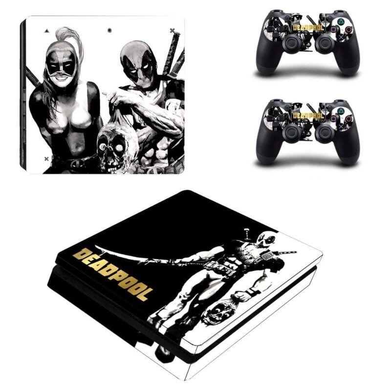 Deadpool Sword Killer Black White Theme PS4 Slim Skin