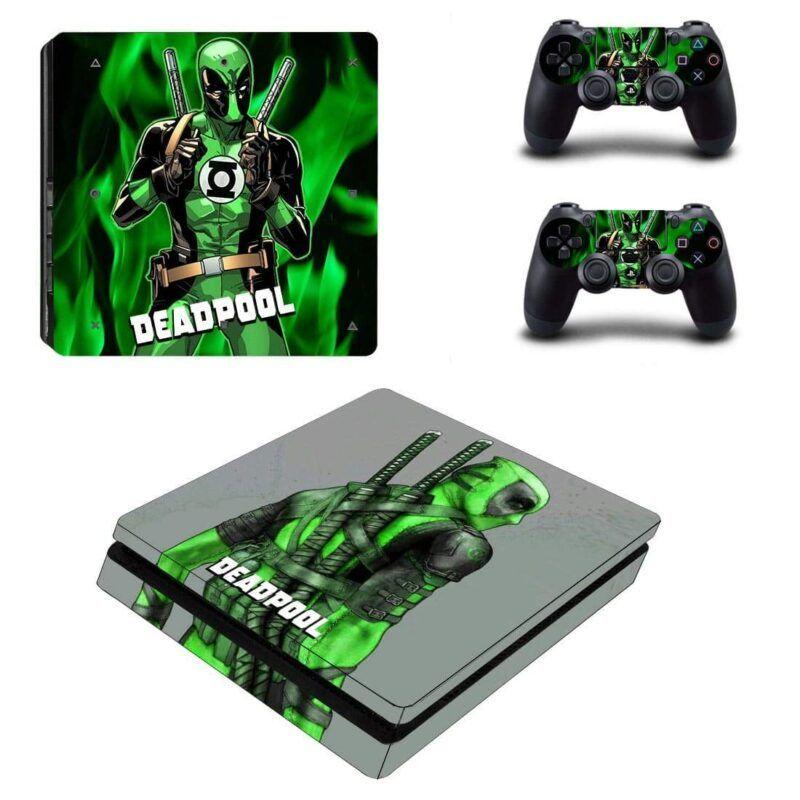 Deadpool Crossing Green Lantern Dope PS4 Slim Skin