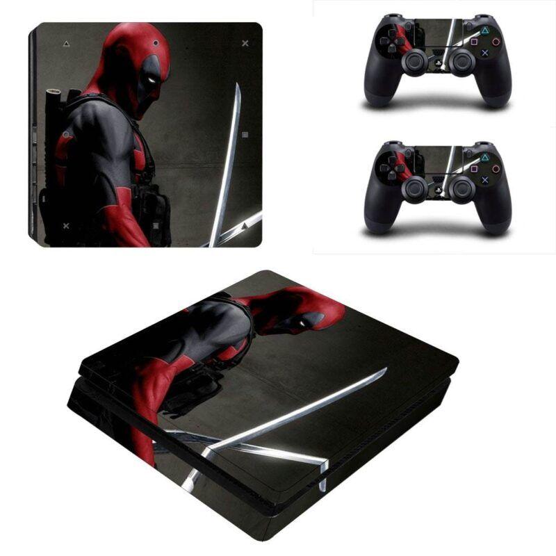 Deadpool Sword Fighting Posture Cool PS4 Slim Skin