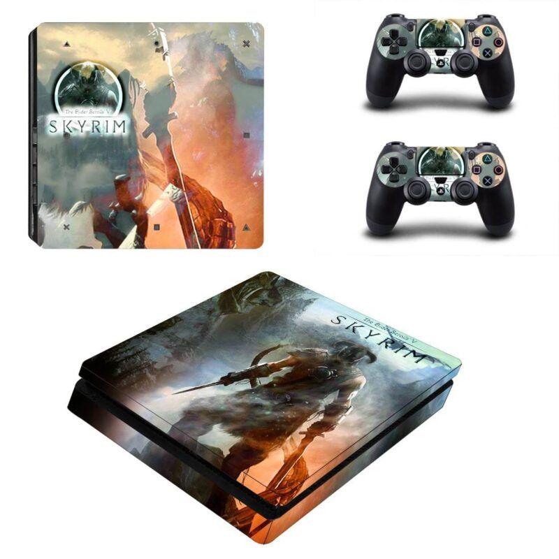 The Elder Scrolls V Skyrim Video Game Poster PS4 Slim Skin
