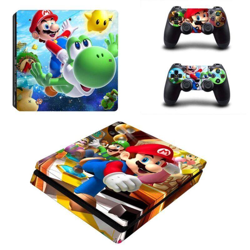 Super Mario Flying Yoshi Game Vibrant PS4 Slim Skin