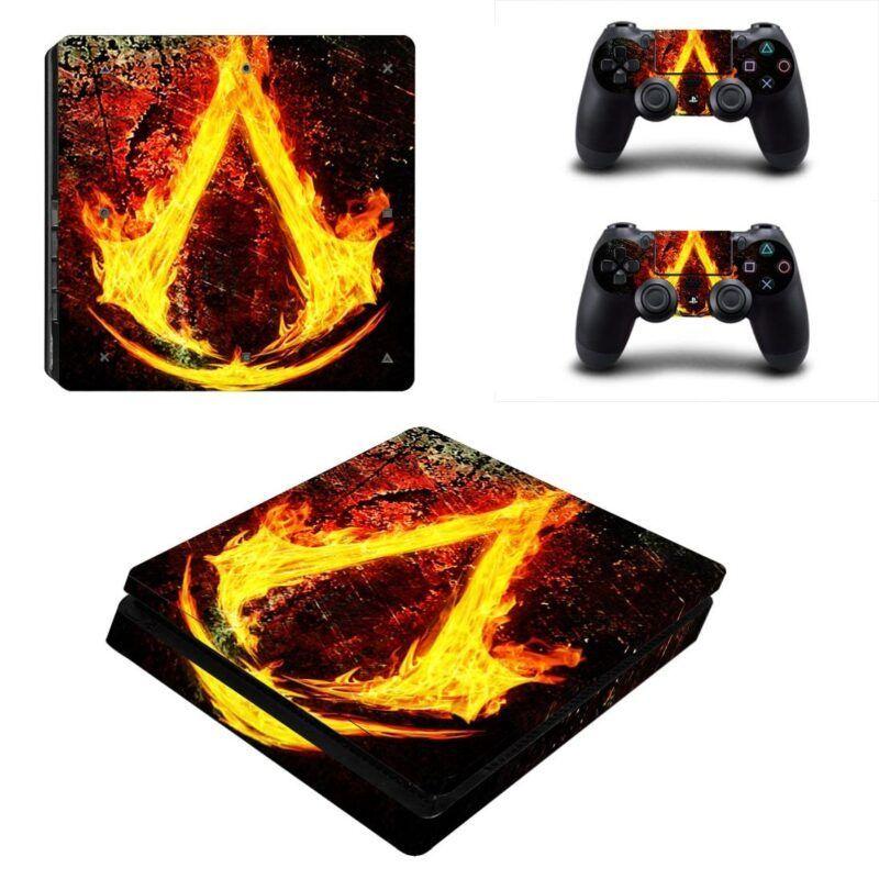Assassins Creed Burning Insignia Hot Fire Logo PS4 Slim Skin