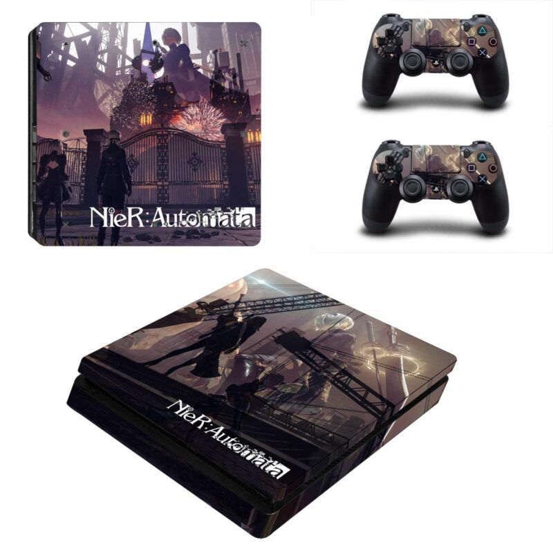 NieR Automata 9S And Giant 2B Standing Gray PS4 Slim Skin