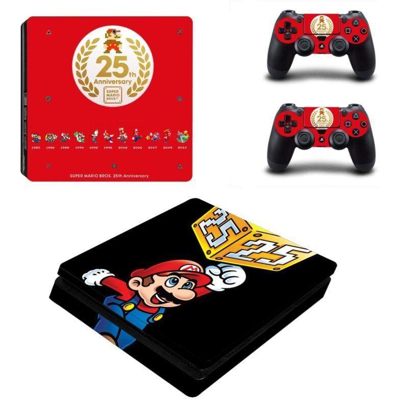 Super Mario Bros 25th Anniversary Red & Black PS4 Slim Skin