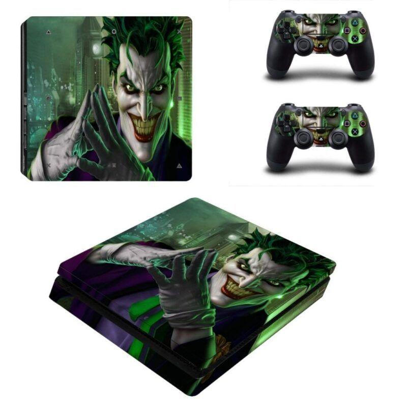 DC Comics Crazy Joker Evil Scheming Grin Green PS4 Slim Skin
