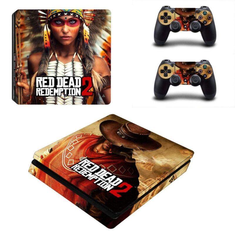 Red Dead Redemption Arthur Morgan & Indian Woman PS4 Slim Skin