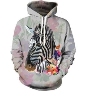 Zebra Paint Floral Flower Vintage Fantastic Trendy Design Pocket Hoodie - Woof Apparel