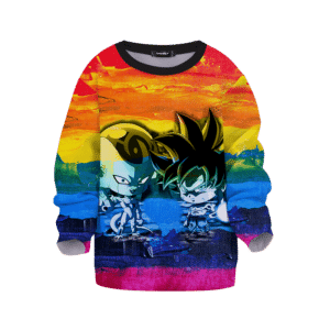 DBZ Chibi Frieza Goku Poster Paint Artistic Colorful Kids Sweatshirt