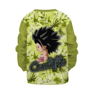 Dragon Ball Caulifla Floral Green Yellow Retro Sexy Kids Sweatshirt