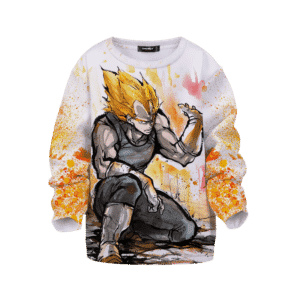 Dragon Ball Super Saiyan Vegeta Painted Color Splash Kids Sweater