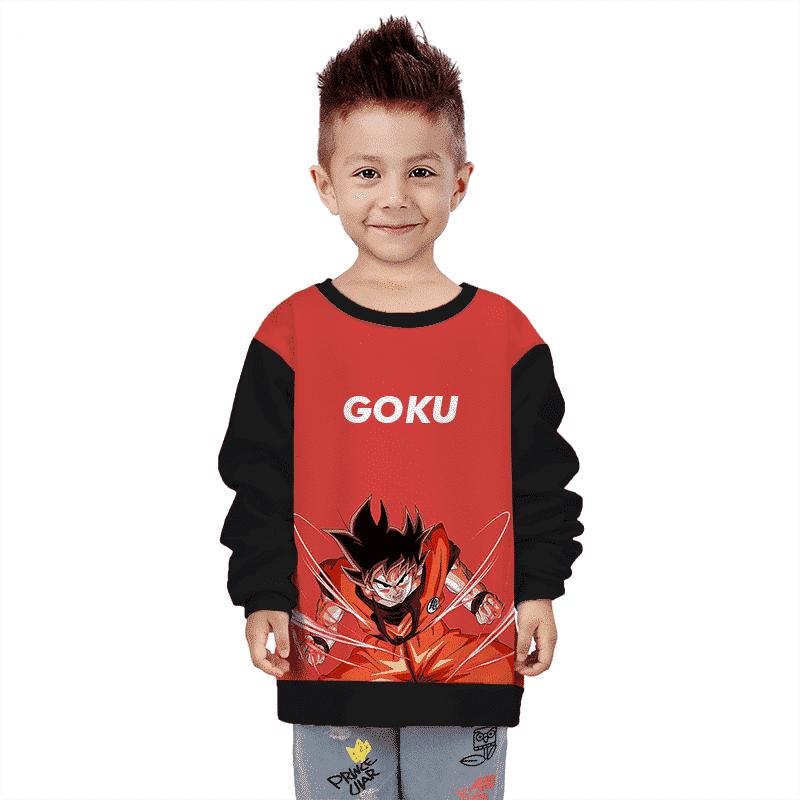 Dragon Ball Z Goku Charging Red & Black Kids Sweatshirt