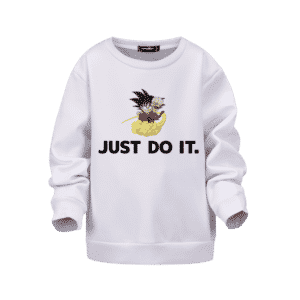 Dragon Ball Z Just Do It Kid Goku Nimbus White Kids Sweatshirt