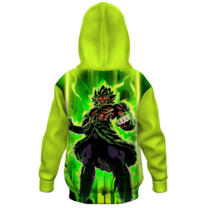 Dragon Ball Z Mad Broly Green Aura Cool Kids Hoodie Back
