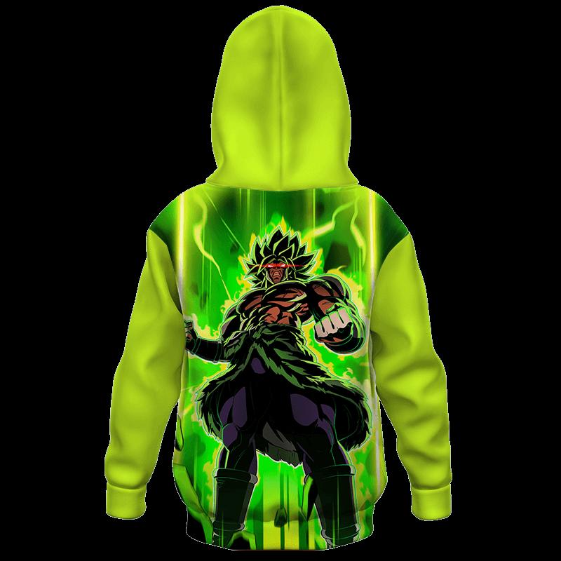 Dragon Ball Z Mad Broly Green Aura Cool Kids Hoodie Back