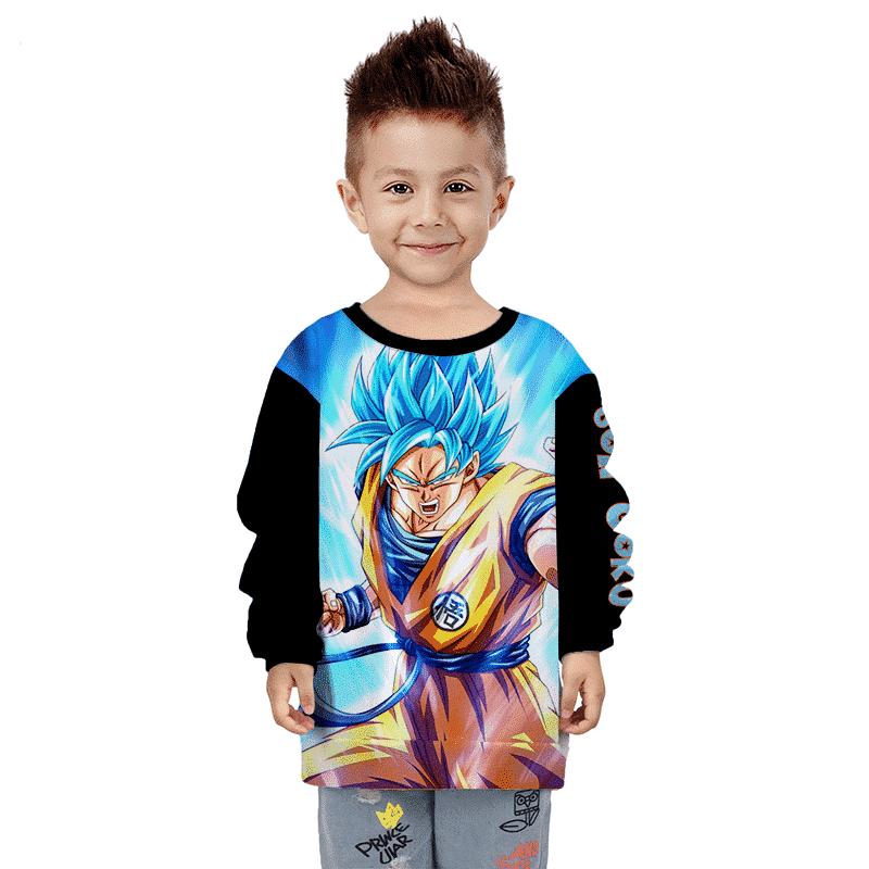 Dragon Ball Z Son Goku Blue Charged Up Aura Cool Kids Sweater