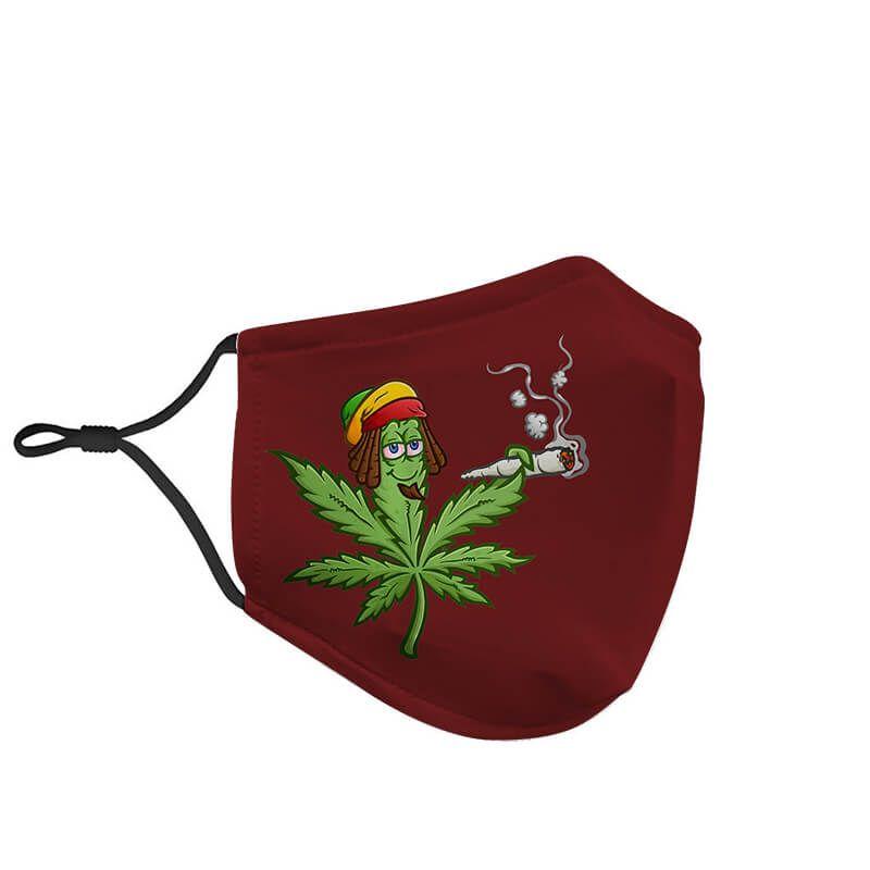 Ganja Leaf Smoking Marijuana Bob Marley Inspired Face Mask