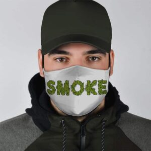 Smoke in Ganja Weeds Minimalist Gray Style Face Mask