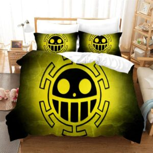 Heart Pirates Smiley Face Logo Yellow And Black Bed Set
