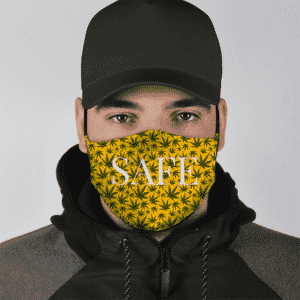 Herb Marijuana Pattern Weed Safe Classy Yellow Beautiful Face Mask