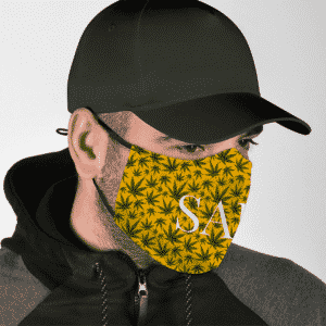 Herb Marijuana Pattern Weed Safe Classy Yellow Beautiful Face Mask