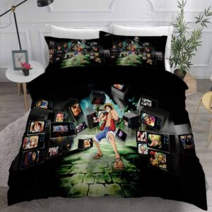 Luffy And One Piece Anime Characters Black Bedding Set
