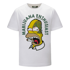 Marijuana Enthusiast Stoned Homer Simpson Awesome White T-shirt