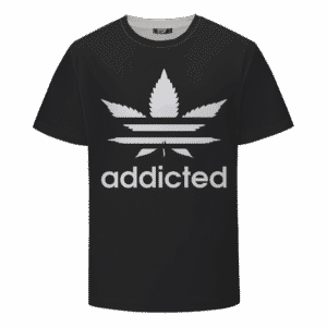 Marijuana Weed Adidas Inspired Addicted Logo Black T-shirt