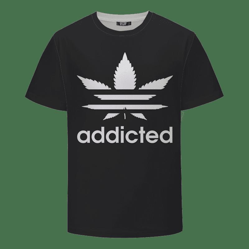 Marijuana Weed Adidas Inspired Addicted Logo Black T-shirt