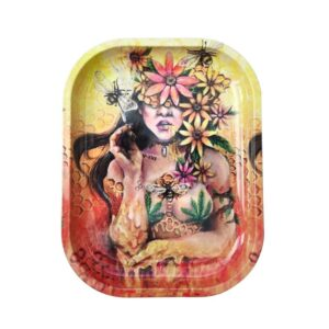 Psychedelic Honey Bee Covered in Marijuana Leaf Rolling Tray