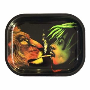 Rasta Bob Marley and Lion King Smoking Kush Rolling Tray