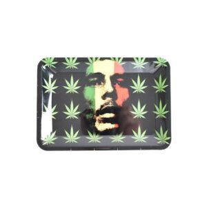 Rasta Bob Marley in Cannabis Leaves Pattern Rolling Tray