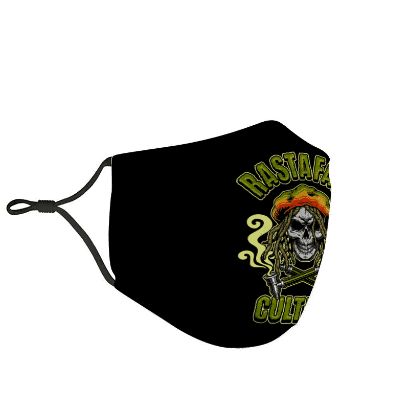 Rastafari Marijuana Skull Reggae Culture Pipe Smoke Weed Face Mask