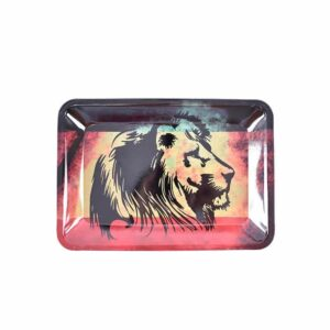 Silhouette King of the Jungle in Rasta Marijuana Rolling Tray