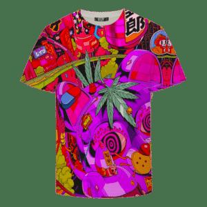 Trippy Neko Japanese Cat Art Weed 420 Marijuana T-shirt