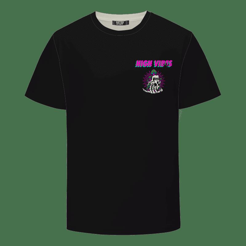 Trippy Skull Art High Vibes 420 Marijuana Weed T-Shirt